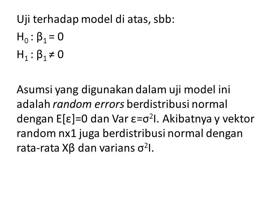 Uji terhadap model di atas, sbb: H0 : β1 = 0 H1 : β1 ≠ 0 Asumsi yang digunakan dalam uji model ini adalah random errors berdistribusi normal dengan E[ε]=0 dan Var ε=σ2I.
